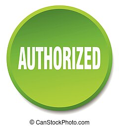 authorized green round flat isolated push button