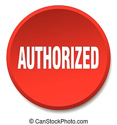 authorized red round flat isolated push button