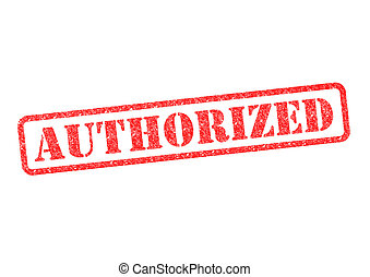 AUTHORIZED red rubber stampover a white background.