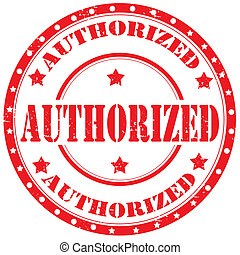 Authorized-stamp - Grunge rubber stamp with text...