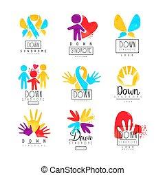 autism, ロゴ, セット, hands., 医学, 慈善活動である, centers., 葉書, 抽象的, 人間...