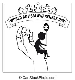 Autism, a small lonely boy sits on the hand of an adult, against a background of puzzles, vector, illustration, isolated