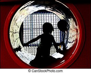 autism - autistic children going into a dark tunnel