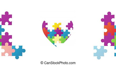 Digital animation of Jigsaw puzzle forming a heart and two rectangles against white background. Autism Awareness concept.