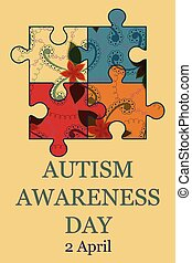 Autism awareness day background retro