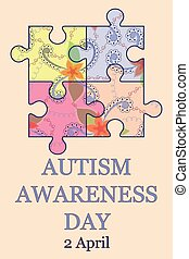 Autism awareness day background vintage