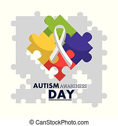 autism awareness day emblem design template