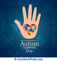 autism awareness day hand with puzzle heart care disease