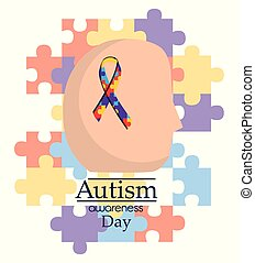 autism awareness day human head with ribbon support medical