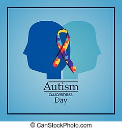 autism awareness day human heads profile puzzle ribbon celebration