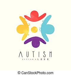 Autism awareness day logo with humans in circle. Genetic disorder. Colorful vector emblem for charitable organization, wellness or medical center