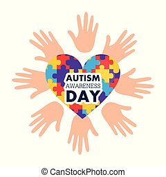 autism awareness day open hands and heart with puzzles