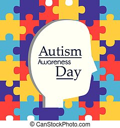 autism awareness day profile head and puzzles background