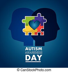 autism awareness day profile heads with puzzle color