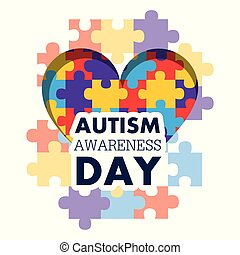 autism awareness day puzzle shape heart health care medical event