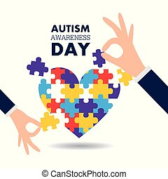 autism awareness day support hands puzzles pieces heart