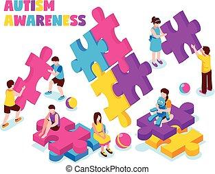 Autism Awareness Isometric Illustration - Autism awareness...