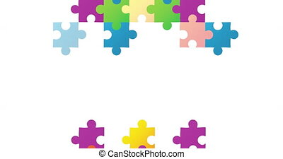 Digital animation of multicolor jigsaw puzzle pieces forming two rectangles against white background. Autism Awareness concept.