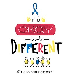 Autism awareness lettering - Vector hand drawn lettering on...