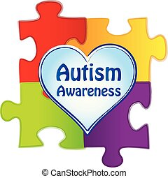 Autism Awareness Logo with Puzzle Pieces