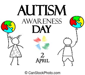 Autism Awareness Month. Multicolored puzzle in the form balloons