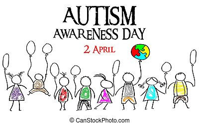 Autism Awareness Month. Multicolored puzzle in the form balloons. Doodle kids with balloons.