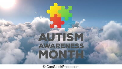 Autism awareness month text and jigsaw puzzle forming a square against clouds