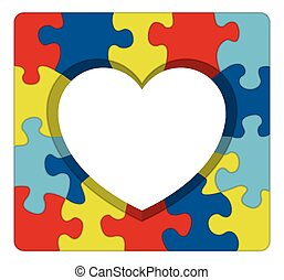 Autism Awareness Puzzle Heart Illustration - A symbolic...