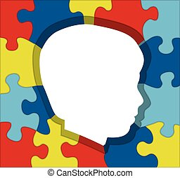 Autism Awareness Puzzle Silhouette Illustration - An...