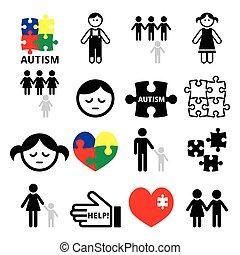 Autism awareness puzzles, autistic