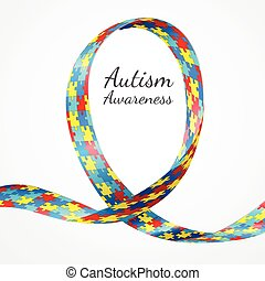 Autism Awareness Ribbon - Colorful puzzle ribbon as the...