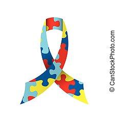 Autism Awareness Ribbon Isolated Illustration