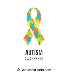 Autism awareness ribbon with jigsaw puzzle pattern. Colorful...