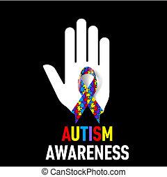 Autism Awareness sign - Autism Awareness sign. White hand...