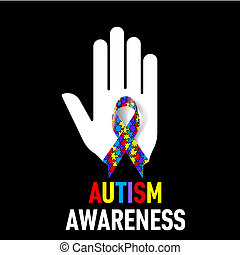 Autism Awareness sign. White hand with puzzle ribbon on ...
