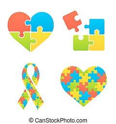 Autism awareness symbols set. Heart, ribbon and puzzle pieces.