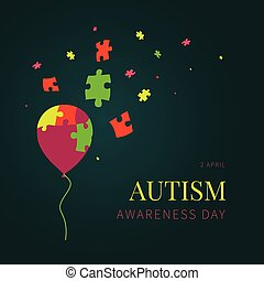 Autism balloon poster - Autism awareness day poster on green...