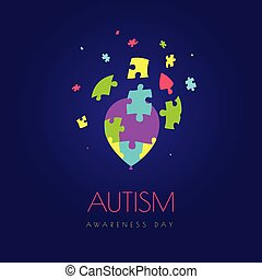 Autism balloon poster - Autism awareness day vector poster...
