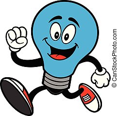 Autism Bulb Mascot Running - A cartoon illustration of a...