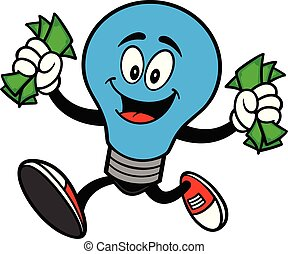 Autism Bulb Mascot Running with Money - A cartoon...
