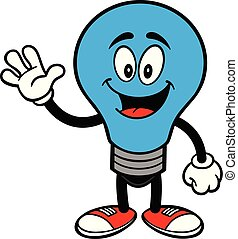 Autism Bulb Mascot Waving - A cartoon illustration of a...