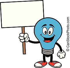 Autism Bulb Mascot with a Sign - A cartoon illustration of a...