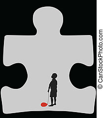 Silhouette of a child with deflated balloon in a cave in a form of autism symbol