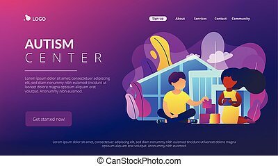 Autism center concept landing page. - Children play in...