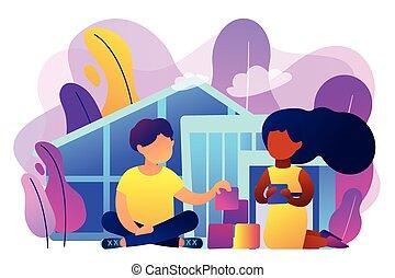 Autism center concept vector illustration.