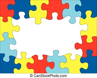 Autism Colored Puzzle Frame Illustration - A frame made out...