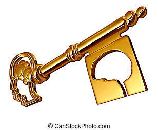 Autism Concept - Autism concept as a gold chrome key shaped...