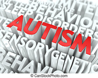 Autism Concept. The Word of Red Color Located over Text of...