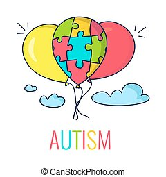 Autism concept with balloons - Autism awareness poster with...