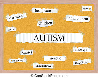 Autism Corkboard Word Concept with great terms such as disease, social, children, genetic and more.